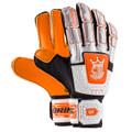Size 8 Brine King 3X Fingersave Goalkeeper Gloves   Color: White with Orange and Black