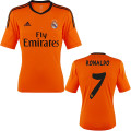 Ronaldo Real Madrid 2012 2013 Very Rare Orange & Graphite Third Jersey with Full Champions League Patches