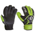 Size 5 Select Finger Protection Hard Ground Goalkeeper Gloves   Color: Black and Lime