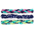 3 Pack Of Under Armour Hot Pink, Purple and Fluorescent Braided Headbands