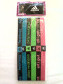 6 Pack Of Adidas Lime, Blue & Hot Pink Wide Headbands