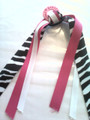 I Love Dance Hair Ribbon with Zebra & Hot Pink Ribbons