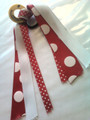 Smiley Face Hair Ribbon with Red & White Polka Dot Ribbons