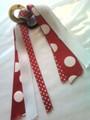 Smiley Face Hair Ribbon with Red & White Polka Dot Ribbons