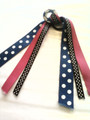 Royal Blue Soccer Ball Hair Ribbon with Navy, Hot Pink & Black Polka Dot Ribbons