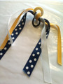 Tennis Hair Ribbon with Navy Blue, Yellow & White Polka Dot Ribbons