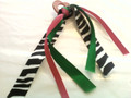 Pink Heart Hair Ribbon with Zebra, Green & Hot Pink Ribbons