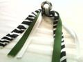 Soccer Ball Hair Ribbon with Zebra & Green Ribbons