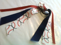 Baseball Hair Ribbon with Red, White & Blue Ribbons