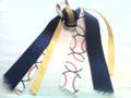 Baseball Hair Ribbon with Navy & Yellow Ribbons