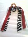 Softball Hair Ribbon with Zebra & Red Ribbons