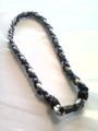 Navy Blue & White O-Nits Titanium Necklace