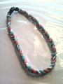 Teal, Orange & White O-Nits Titanium Necklace