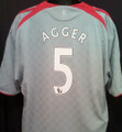 Agger Liverpool Classic 2008 2009 Silver Away XL Jersey With Felt EPL Patches