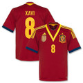 Xavi 2012 2013 Spain Adult L Home Jersey with FIFA World Champions 2010 Gold Chest Patch
