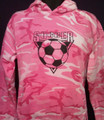 PINK CAMOUFLAGE SOCCER BALL AND TRIANGLE ADULT HOODIES   NOTE: NOT AVAILABLE IN YOUTH SIZES