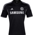 Chelsea 2013 2014 Black Third Size Adult S Player Edition Away Jersey with Felt Champions League and Respect Patches