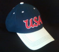 US SOCCER OFFICIAL NAVY & WHITE CAP WITH RAISED USA EMBOSSING