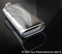 "Exhaust Muffler Tip  Wide Oval Double Wall Inner Sleeve Rolled Edge Angle Cut  2.25"" Inlet / ID, 5.4X3"" Outlet / OD, Red Tail Performance #RTP-059"