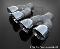 "Exhaust Muffler Tip  Dual Round Double Wall And Staggered  2.25"" Inlet / ID, 6"" Outlet / OD, Red Tail Performance #RTP-035LR"
