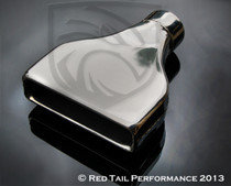 "Exhaust Muffler Tip  Rectangular Rolled Edge  2.25"" Inlet / ID, 8x2"" Outlet / OD, Red Tail Performance #RTP-007"