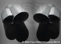 "Exhaust Muffler Tip Dual Fused Oval Rolled Edge Porsche Turbo Style Left and Right Side 2.25"" Inlet / ID, 5.5""x3.5"" Outer Dimension/ OD, 8.5"" Length #RTP-062BLR"