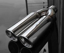 "Exhaust Muffler Tip  Dual Round Double Walled Inner Bevel  3"" Inlet / ID, 8.25""X4""  Outer Dimension / OD #RTP-075"