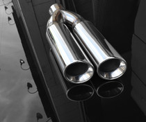 "Exhaust Muffler Tip  Dual Round Double Walled Inner Beveled Sideway Slanted  3"" Inlet / ID, 8.25""X4""  Outer Dimension / OD #RTP-074"