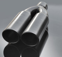 "Black Exhaust Muffler Tip  Dual Round Double Walled Inner Bevel  3"" Inlet / ID, 8.25""X4""  Outer Dimension / OD #RTP-075"