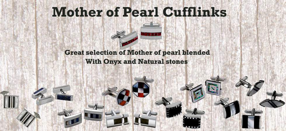 Mother of pearl cufflinks range at great prices at Cufflinks World