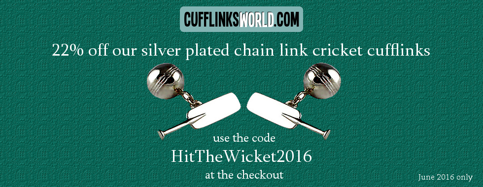 Cufflinks of the Month offer - 22% off our silver plated chain link cricket cufflinks