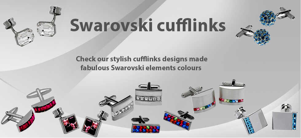 Swarovski Cufflinks with great colours of Swarovski elements