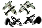 Spitfire cufflinks with RAF logo on each wing: choose between Chain-linked or T-Bar style