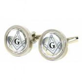 Silver Coloured Round Masonic Cufflinks withThe Masonic Square and Compasses and letter G