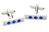 Blue Swarovski cufflinks