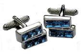 2 Tiers Blue Swarovski elements Cufflinks