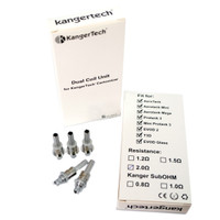 Upgraded Kangertech Atomizer coils. Dual coil construction available in 1.2 and 1.8 ohms.