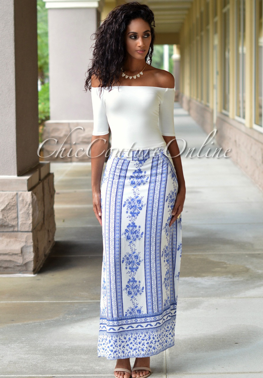 Blue And White Maxi Skirt