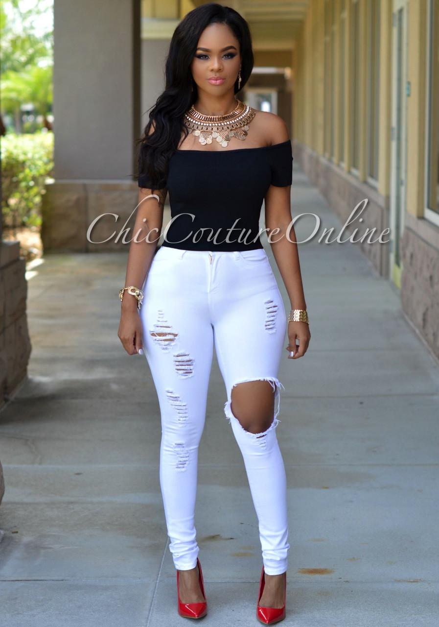 Destroyed White Jeans Qf48dvjx