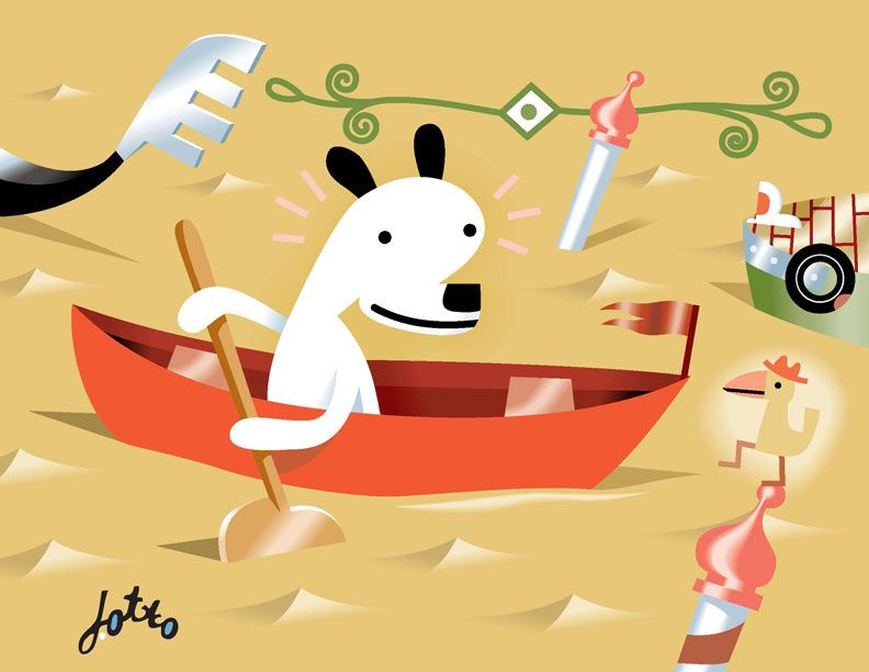 J. Otto Seibold, Detail from the cover of Mr. Lunch Borrows a Canoe by J. Otto Seibold and Vivian Walsh, 1994. Vector illustration