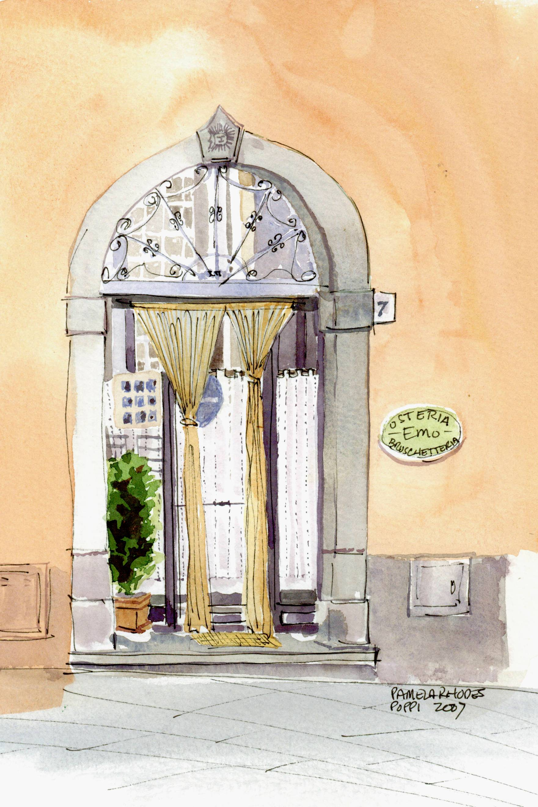 "Pamela Rhodes, ""Osteria Emo ~ Bruschetteria"", watercolor — at Poppi, Italy"