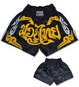 Muay Thai Shorts - Black/Gold/Silver