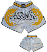 Muay Thai Shorts - White/Gold/Black