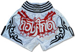 Muay Thai Shorts - White/Black/Red