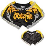 Retro Muay Thai Short - Black/Gold/Silver