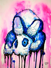 "Travis Seibolt ""Panda Problems"" Bear Signed Giclee on Canvas"