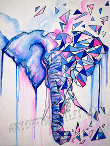 "Travis Seibolt ""Evolution"" Geometric Elephant Signed Giclee on Canvas"