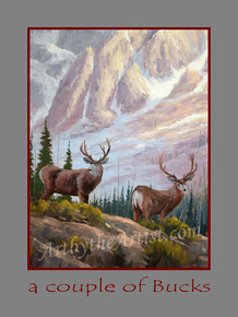 "Fred Choate 12""x16"" 'A Couple of Bucks' Paper or Canvas Giclée Signed & Numbered"