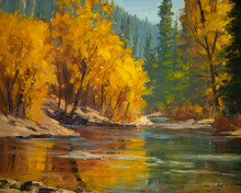 Fred Choate 'Wood River Autumn' Giclee on Canvas Signed