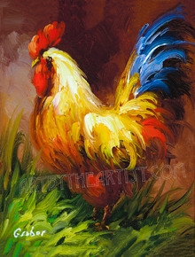 "Mary Gruber ""Rooster 1"" Signed Giclee on Canvas"